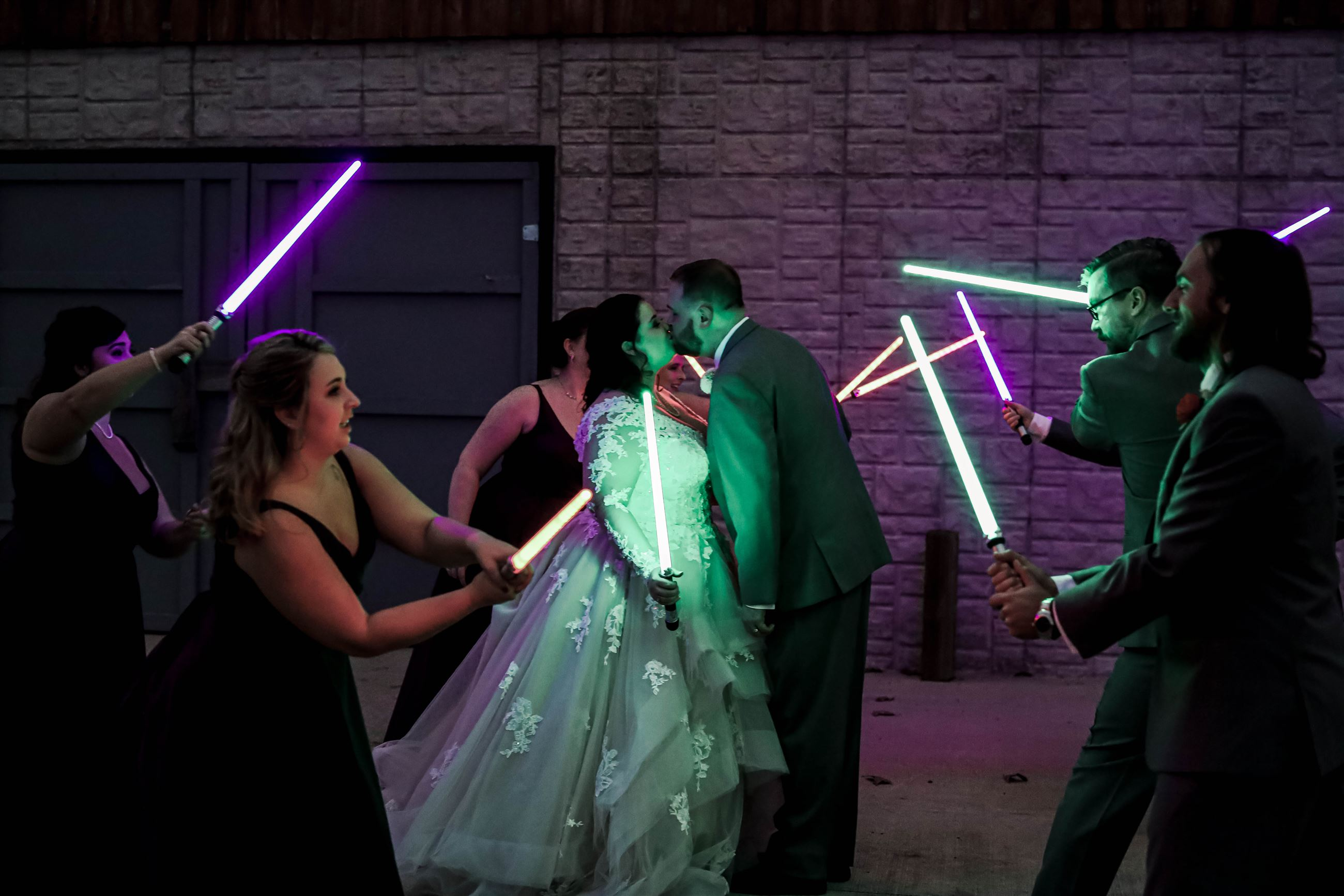 Light Sabor Exit, Disney Wedding, Star Wars Wedding