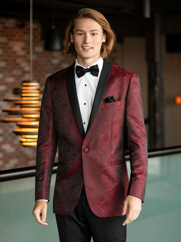 Jim's Formal Wear MOD Apple Red Aries Paisley Tuxedo