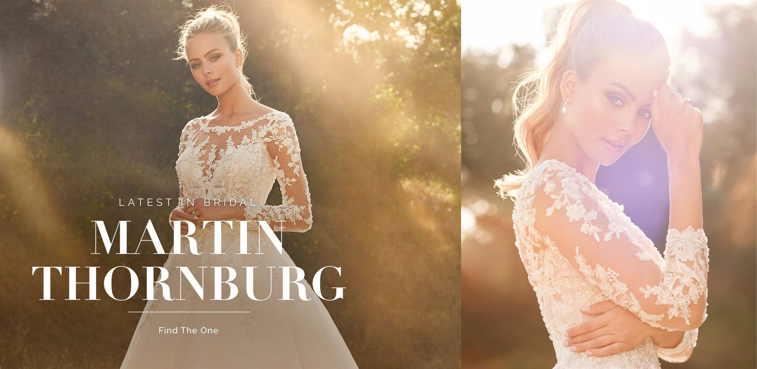 Banner for Martin Thornburg collection. Model wearing long sleeve floral and lace wedding dress