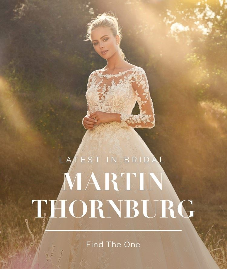 Banner for Martin Thornburg collection. Model wearing long sleeve floral and lace wedding dress on mobile device